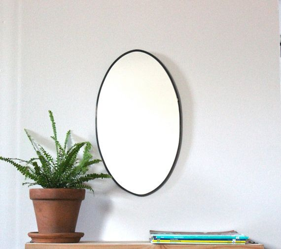 """Oval Mirror Hand-cut with 1/4"""" lead came border, hanging wire on back, $68+tax&shipping.  By fluxglass (via etsy)"""
