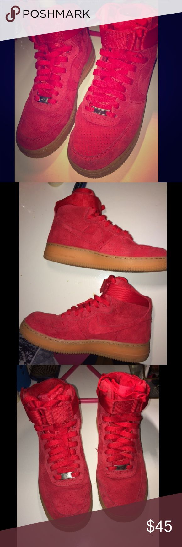 Nike Hi-Top Red Suede Air Force Ones Size 8.5 Red Suede Nike Hi-Top Air Force Ones, Womens 8.5 or Mens 6.5, barely worn Nike Shoes Sneakers