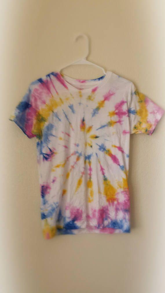 Large Rainbow Center Swirl Pattern Kids Tie Dye T-Shirt