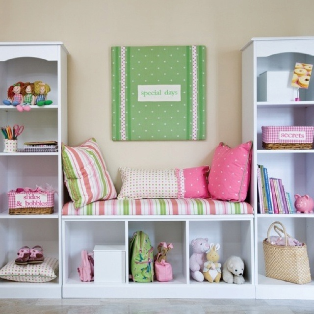 3 bookshelves made into a reading nook. Going to build this for my daughter