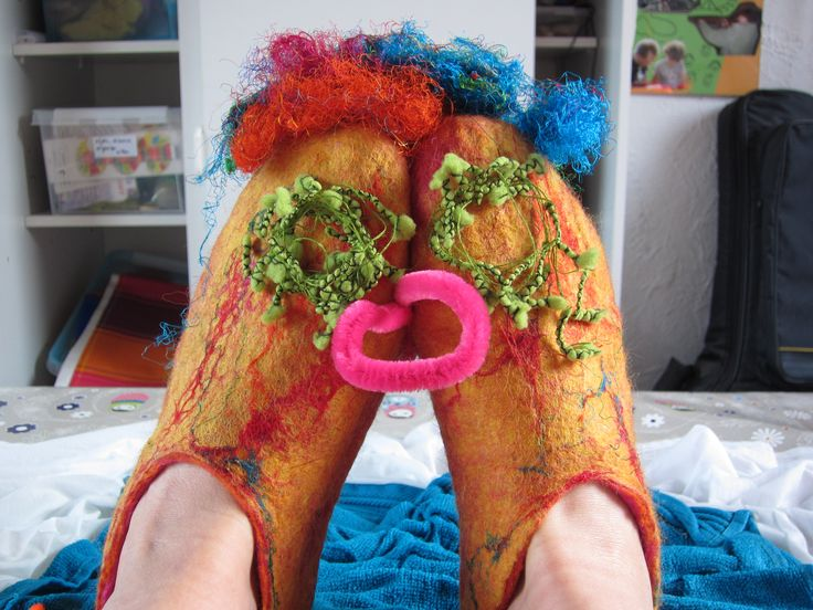 Felted slippers made by Marjo Lelie