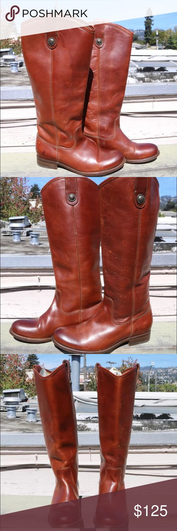 """Frye 'Melissa Button' Boot in Cognac  - Size 6B Frye 'Melissa Button' Boots in Cognac Size: 6B Regular Retail Price: $328   Button-accented pull tabs top a handcrafted riding boot fashioned from fine burnished leather for a marbled, vintage look. Pull-on style. Foam-cushioned midsole. Approx heel height: 1"""", boot shaft height: 16"""", calf circumference: 15""""  Leather upper, lining and sole. Inside of boot shaft reads: 77167  6 4001 D 10 Made in Mexico    Pre owned in great condition, worn only…"""