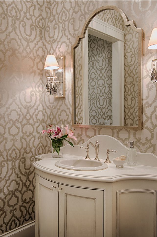 Powder Room. Powder Room Design. Elegant Powder Room Ideas. Powder Room with wallpaper, sconces and custom vanity. #PowderRoom #PowderRoomWallpaper #PowderRoomDesign