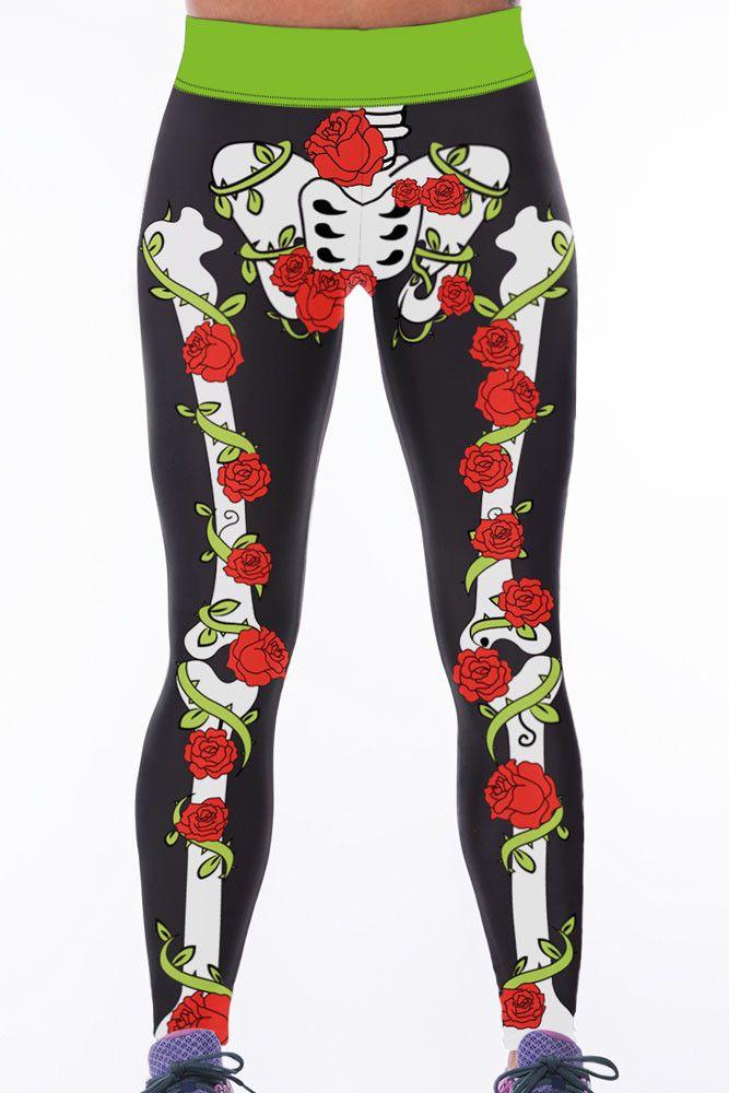 Leggings Rose Skeleton Taille Haute Gym Yoga Pants Pas Cher www.modebuy.com @Modebuy #Modebuy #CommeMontre #Rose #me #commentall
