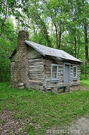Old Stone Cabin Old Log Cabin Stock Photo Image