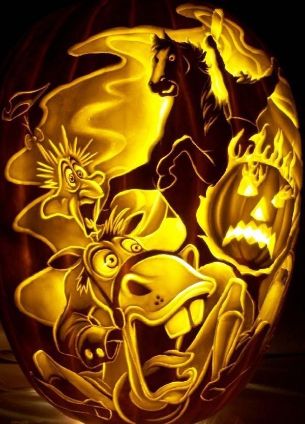 Headless Horseman Pumpkin Carving made by Dan Szczepanski