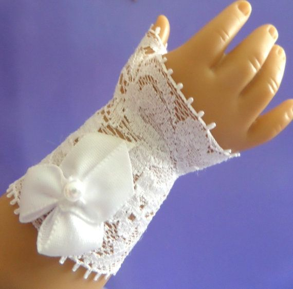 White Flower Lace Fingerless Doll Gloves - Below Elbow Length  - First Communion -  American Girl Doll Accessories - 1400