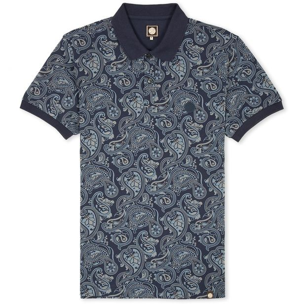 SS Navy Paisley Print Polo | Pretty Green | Designer fashion from Liam Gallagher