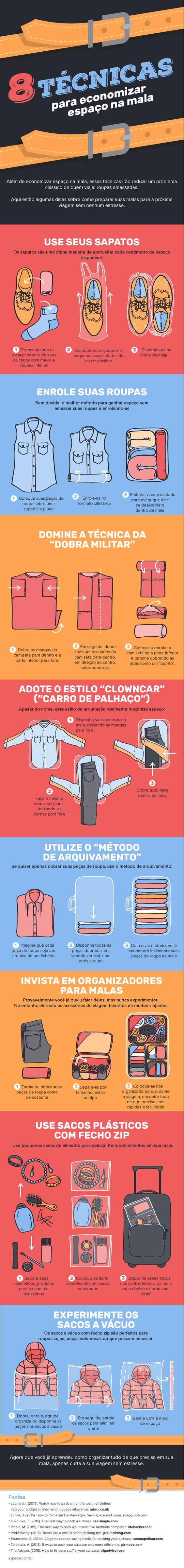 Confira 8 formas de economizar espaço na mala