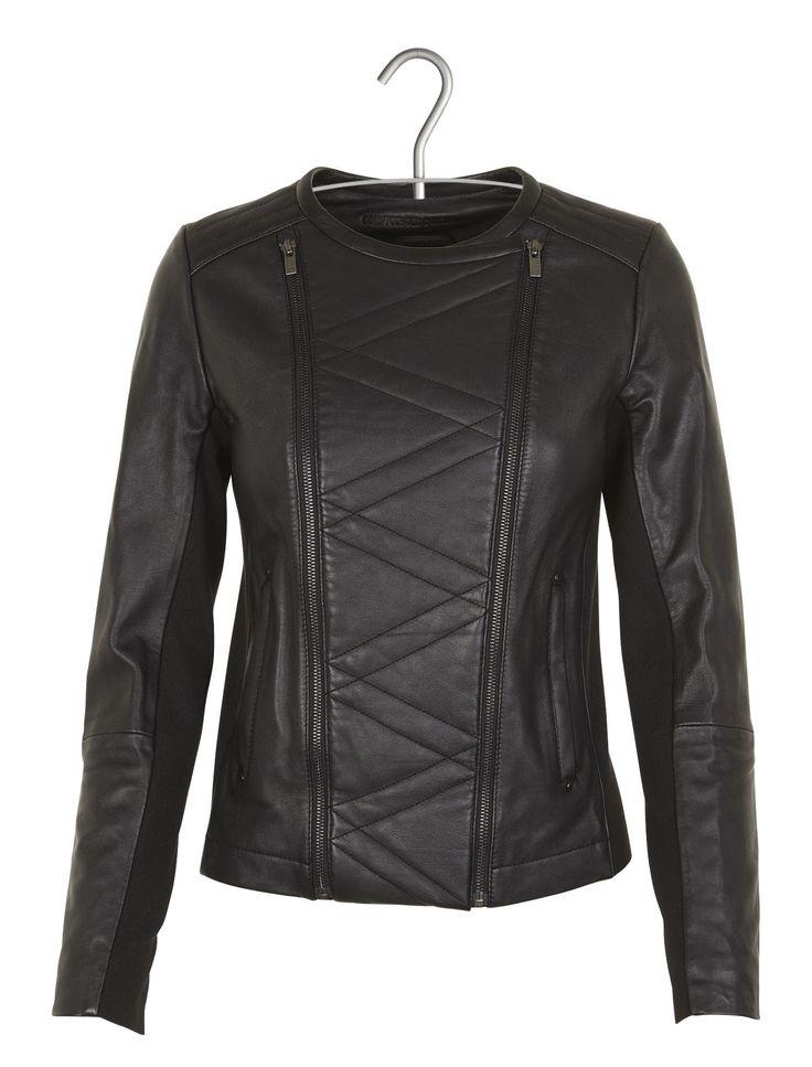 E-boutique Veste Zippée En Cuir Aravelle Noir Comptoir Des Cotonniers femme | Place des Tendances