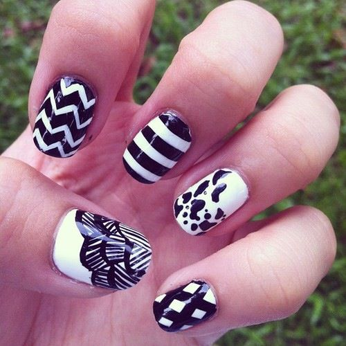 8 best black and white nails images on pinterest black black black and white nail design prinsesfo Gallery
