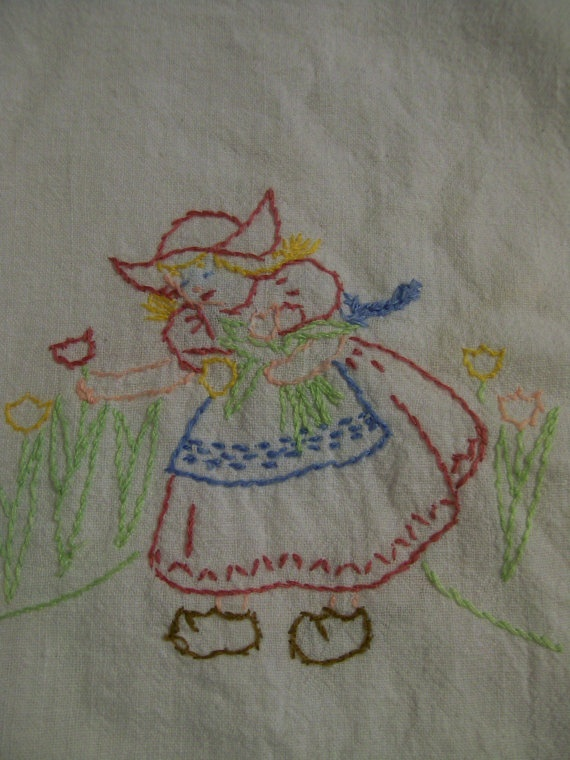 Vintage Table Linen Little Dutch Hand Embroidered Towel Or Dresser Scarf