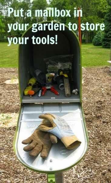 Put a mailbox in your garden to store your tools, I love this idea! Great for small areas with little to no storage.