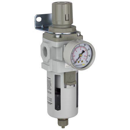 PneumaticPlus SAW400-N04BG Compressed Air Filter Regulator Piggyback Combo 1/2 inch NPT - Poly Bowl, Manual Drain, Bracket, Gauge