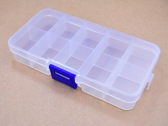 2pc Of Plastic Storage Boxes 10 Compartment Mini Adjustable Etsy Plastic Box Storage Plastic Storage Storage Boxes