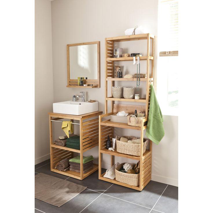 meuble sous vasque natural imitation bambou 60x50cm vasque edge salle de bains meuble
