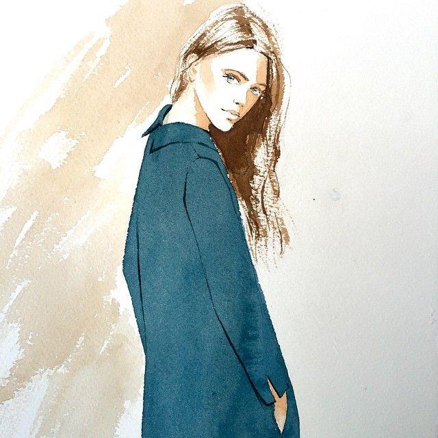 Portrait-illustration in two colors. Портрет-иллюстрация в два цвета. Учусь в #kalachevaschool  #watercolor #fashionillustration #illustration #portrait #акварель #иллюстрация #aquarelle