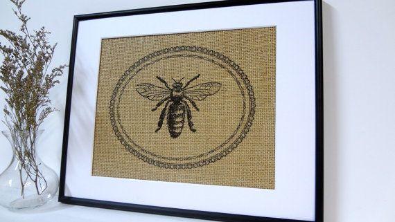 Bee Art on burlap wall decor print by BurlapArtByElizabeth on Etsy, $20.00
