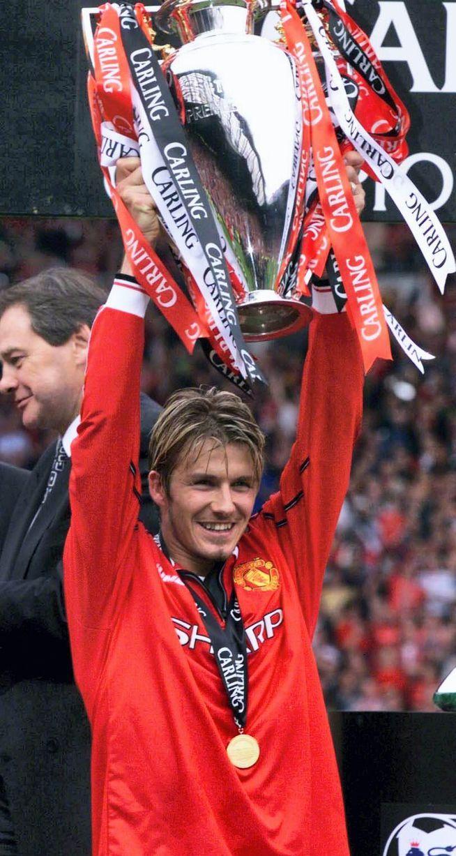 David Beckham with the Premier League trophies