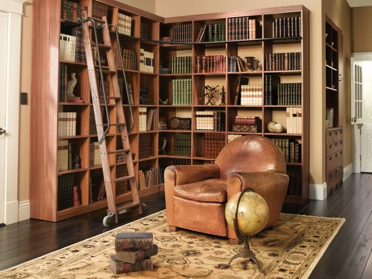 Elegant Library: Joyous Brown Leather Sofa On Oriental Rug Combined With Wooden  Custom Home Library Bookshelves Design: Custom Home Library Design As The  Fast Way ...