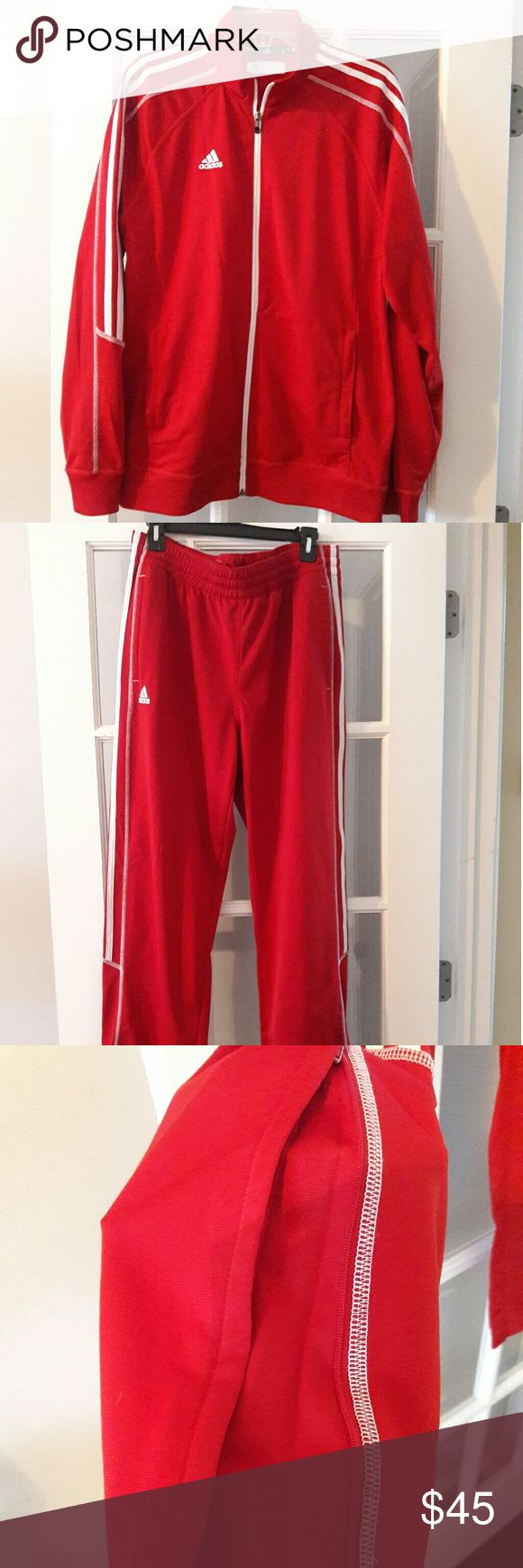 "ADIDAS red men jogging suit. Adidas red jogging suit with zipper on the side of pants (fake zipper) sleeves are approximately 32"" long from neck to bottom of sleeve. Pants approximately 42""L and top of pants 16"" wide. Very clean and gently worn. Must son wore it for basketball, that's why the #25 is on the label. Adidas Pants"