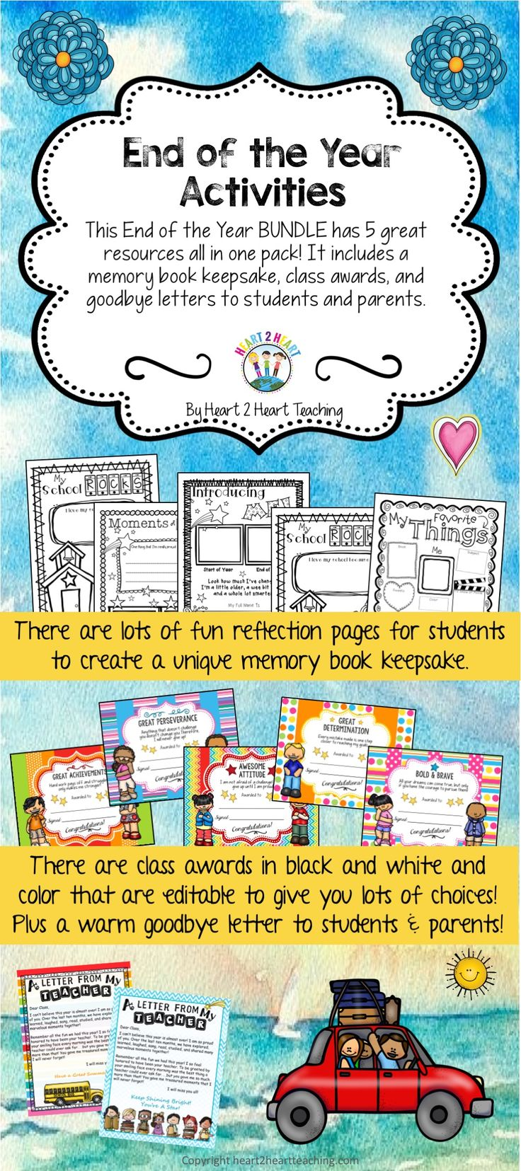 HERE'S WHAT IS INSIDE THE BUNDLE: *End of the Year Memory Book *Growth Mindset Class Awards (Editable) *Character Awards in B/W *End of the Year Letter to Students (Editable) *End of the Year Thank You Letter to Parents