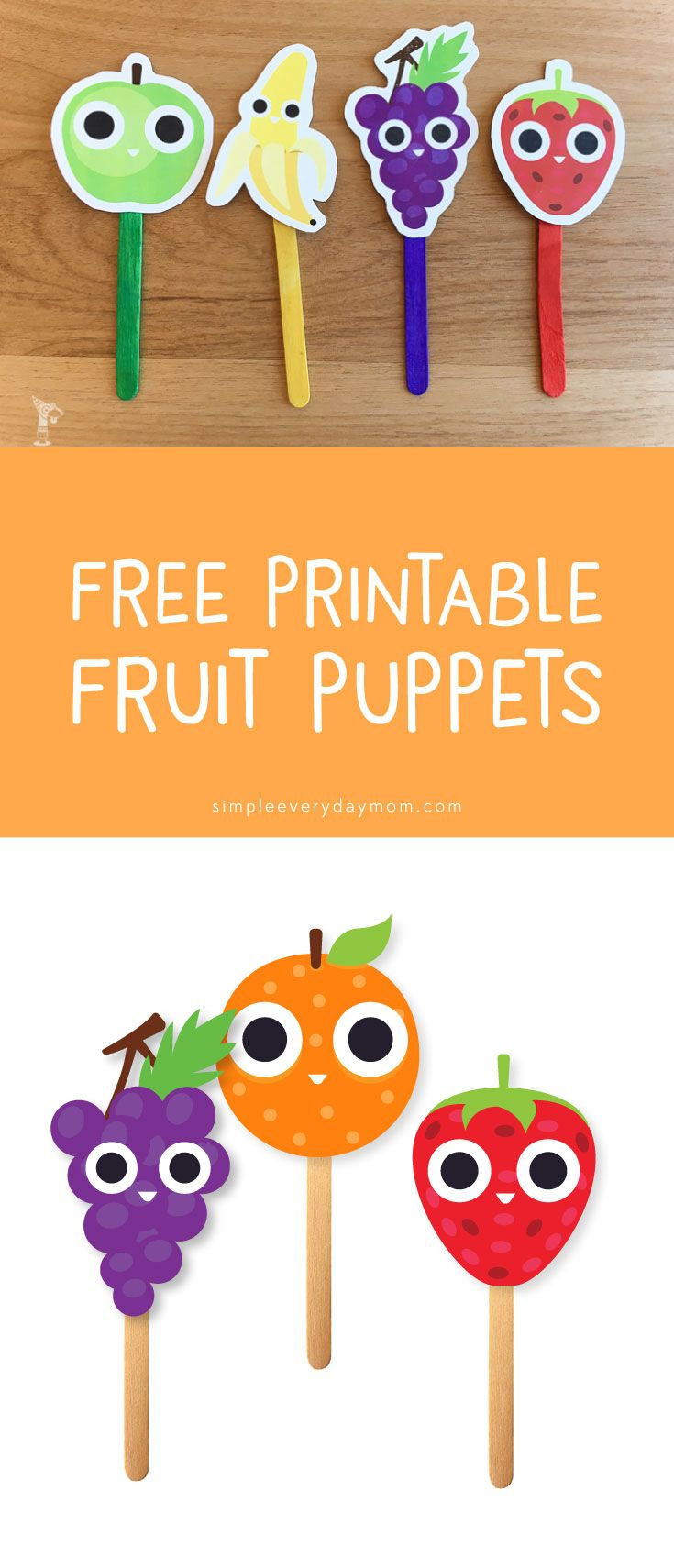 free printables for kids | printable puppets | fruit activity | creative play