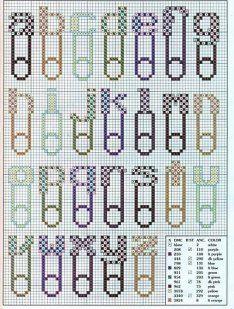 alphabet - épingle à nourrice - bébé - point de croix - cross stitch - Blog : http://broderiemimie44.canalblog.com/