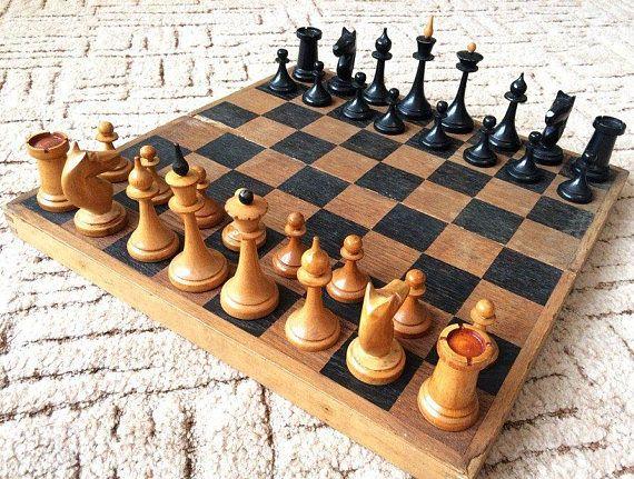 Soviet chess set vintage middle size
