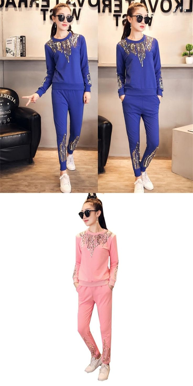 2017 new ladies spring and autumn fashion casual long-sleeved sequins beaded sweater + pants ladies sportswear two piece set TB