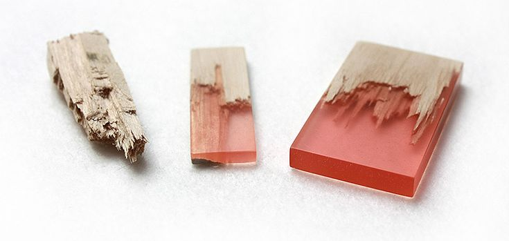 "Marcel Dunger Uses Resin To ""Mend"" Broken Pieces of Wood Into Jewelry"