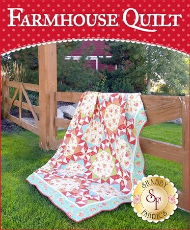 "Farmhouse Quilt Kit: Evoke a country style in your home with this beautiful Farmhouse Quilt Kit. This Shabby Fabrics exclusive features basic piecing but will wow your guests with its complex look. Quilt measures at approximately 72½""x96½"""