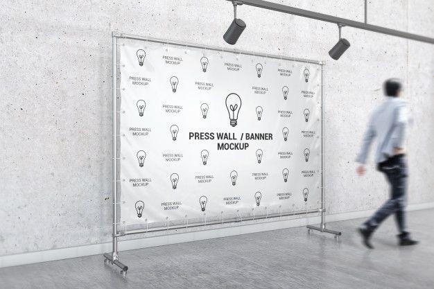 press wall mockup free psd