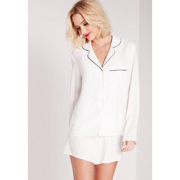 Missguided Contrast Piping Pyjama Set (79 BRL) ❤ liked on Polyvore featuring intimates, sleepwear, pajamas, white, long sleeve sleepwear, white pajama set, long sleeve pyjamas, long sleeve pajamas and long sleeve pajama set