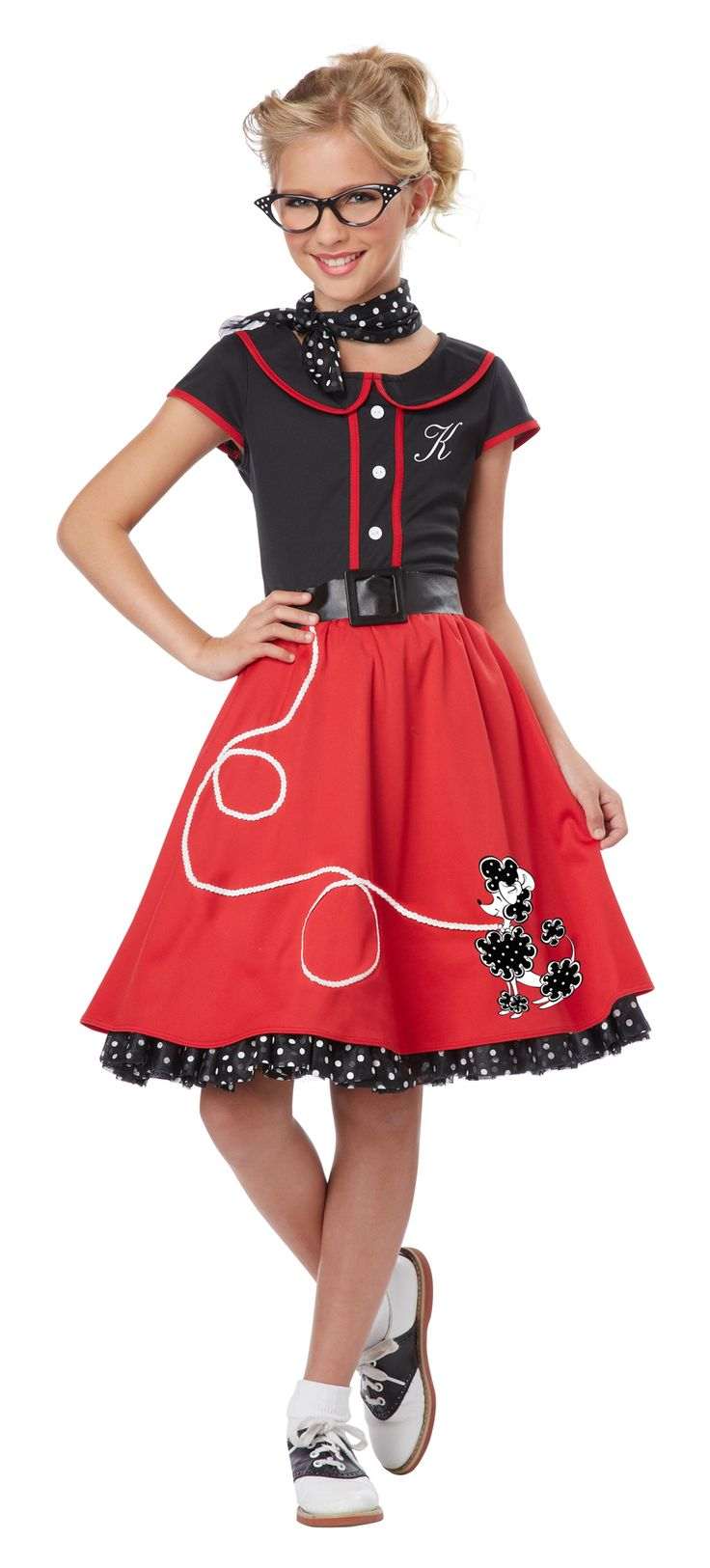 50s Sweetheart Girls Sock Hop Costume- A cute throwback costume for summer sock hop or fifties parties, the 50s Sweetheart Girls Sock Hop Costume is a cute and colorful costume for young or tween girls.  This is a fun and fresh option for school parties and community dances.  Easy to dress up with saddle shoes and hair ribbons, the 50s Sweetheart Girls Sock Hop Costume is a fun option for young girls for professional photography. #50s #poodleskirt #kids #yyc #costume #calgary #retro