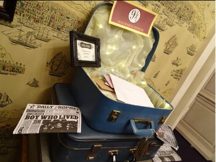 Platform 9 3/4 Owl Mail collection from Sorrel & Andy's Harry Potter Wedding. Sorrel owns and runs Ambience Venue Styling North  Lancashire.