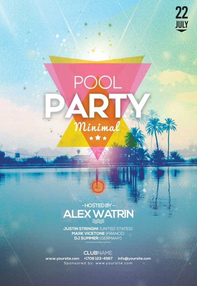 Summer Pool Party Free Flyer Template Freepsdflyer Pool Party Flyer Free Psd Flyer Templates Pool Parties Flyer