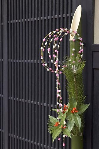 Oshogatsu ( New Year's ) decoration. This one is a shimekazari style. All decorations have bamboo, pine and some type of rope.
