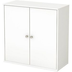 South Shore Store It Collection 4-Cubby Storage Shelves with Doors, Pure White