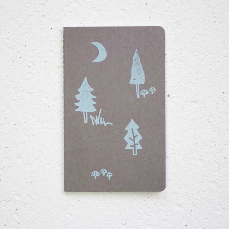 Forest Note - hand screenprinted on a large Moleskine