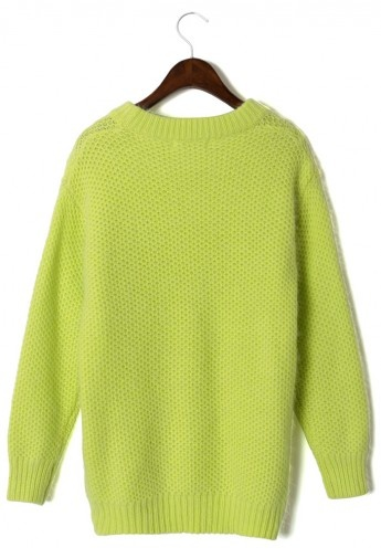 #Chicwish Classic Neon Green Waffle Jumper by Chic+