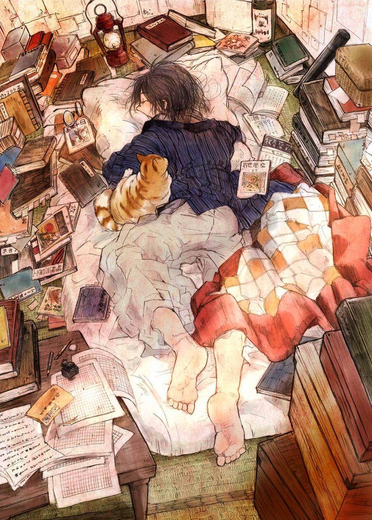Anime illustration background sleep girl pose bedroom messy book