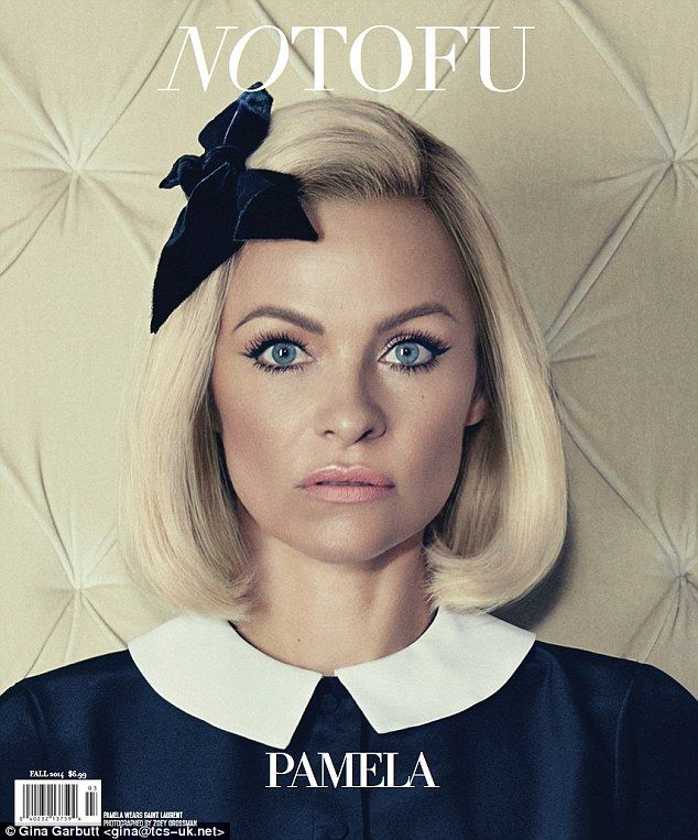 Make-under: Pamela Anderson showcases a more demure look for the cover of Notofu magazine...