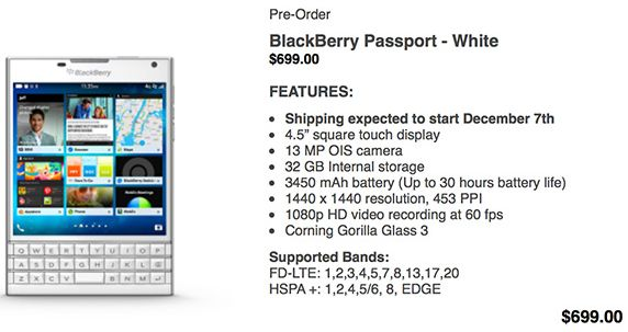 White BlackBerry Passport pre-order is on in Canada