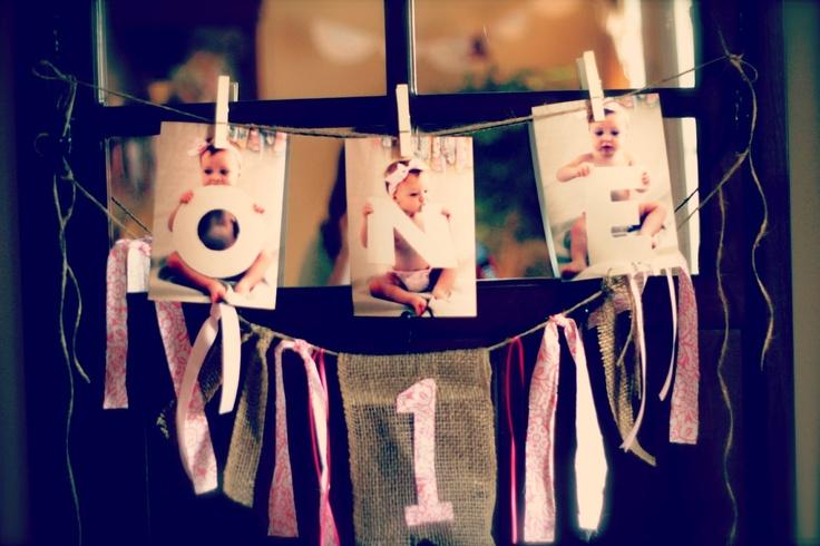 First Birthday Banner, Shabby Chic, Burlap