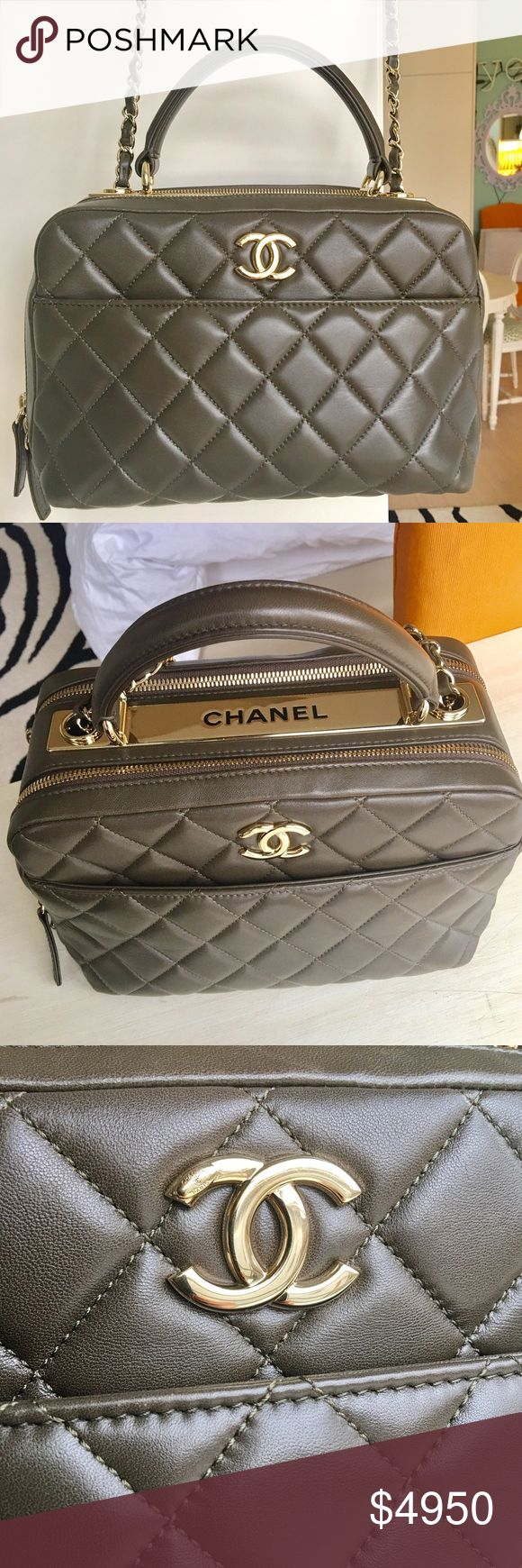 2016 Fall Chanel Trendy CC Small Bowling Bag 100% Authentic! Worn a couple of times. In very good condition! slight hairline scratches on hardware(see pic). Comes with Original Receipt, Authenticity Card & Box. Dimensions are. (6.3 X 10.6 X 5.5 IN) / (16 X 27 X 14 CM). Lambskin leather,  In Hard to get Green color. Gold Hardware. This is part of the new 2016 Fall Chanel Metiers d' Art Bag Collection, (which is in stores now if you can get your hands on one!) Which were presented at the…