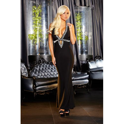 HUSTLER SEXY GOWN BLACK - M/L SALE:  69.01€