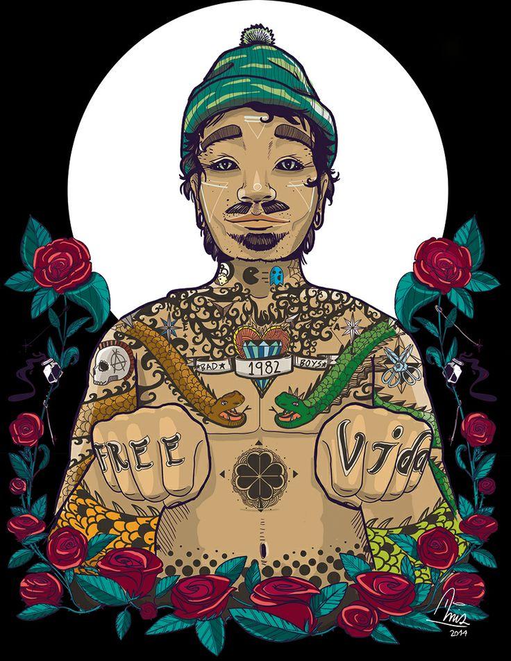 "ilustracion  digital   para portada de revista tema ""Tatto"""
