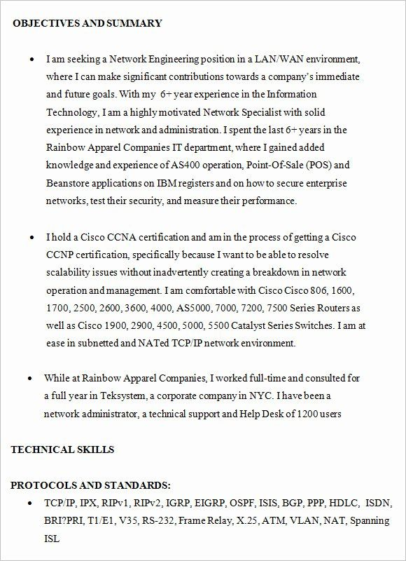 Cisco Network Engineer Resume Awesome Free 8 Network Engineer Resume Templates In Free Samples Resume Examples Engineering Resume Hr Resume