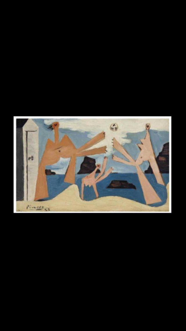 """Pablo Picasso - """" Baigneuses au ballon """", Dinard 20 VIII 1928 - Huile sur toile - 21,9 x 35,1 cm (..)"""